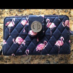 Vera Bradley Flamingo Fiesta RFID Turnlock Wallet